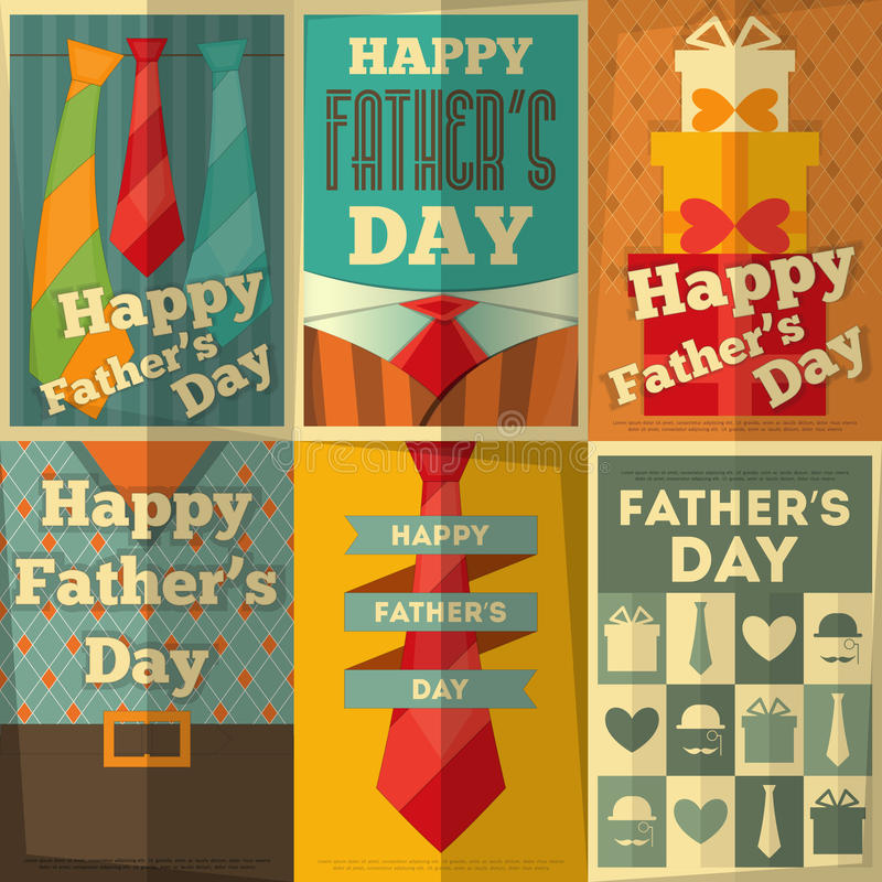Father's Day. Posters Set. Flat Design. Retro Style. Illustration