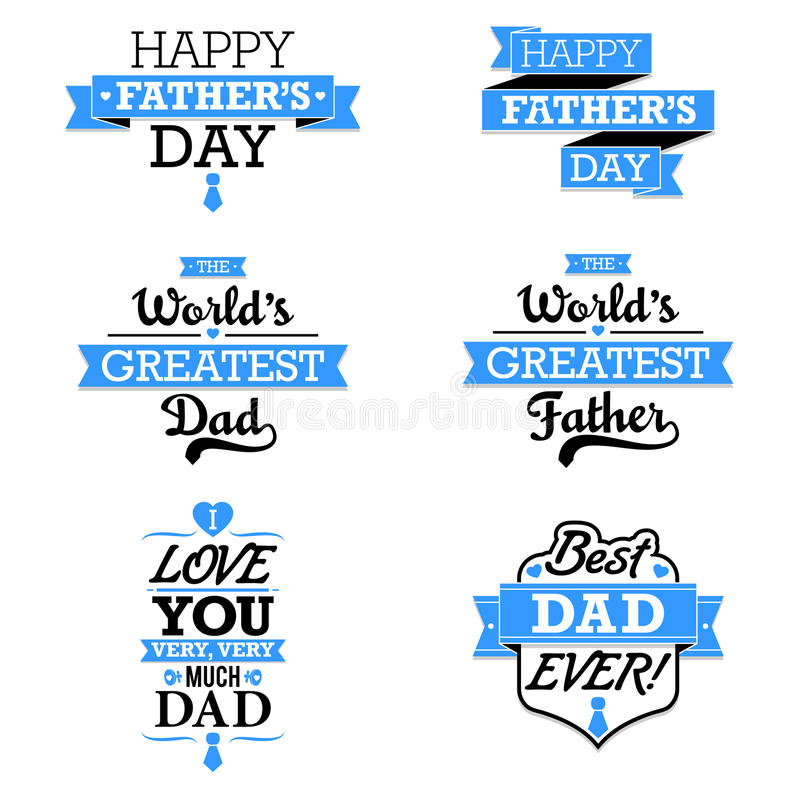Father's Day Text Elements stock illustration