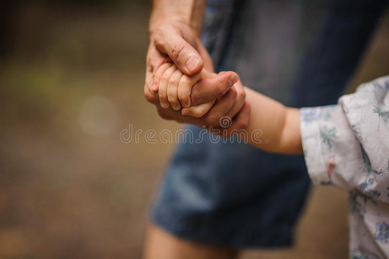 Father's hand lead his child son in summer forest nature outdoor, royalty free stock photo