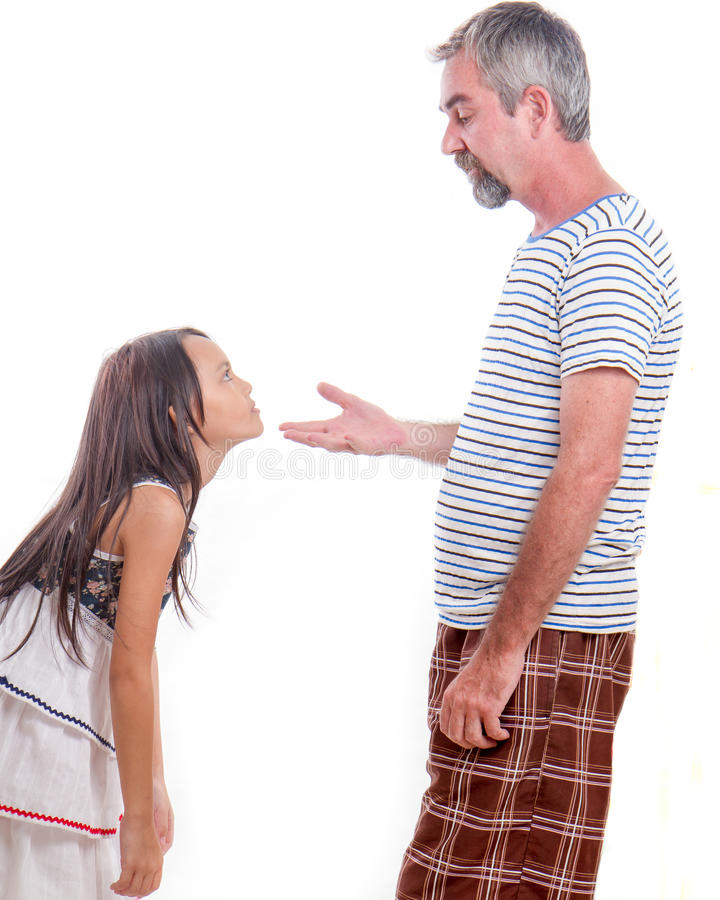 Father scolding naughty daughter royalty free stock photo