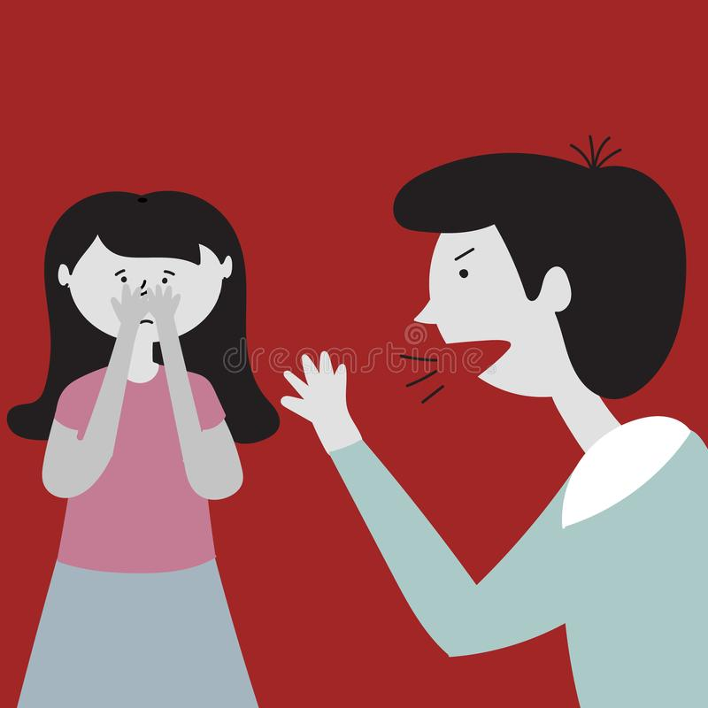Father screams at his daughter. Father is angry and waving his arms. Daughter is scared. Child abuse royalty free illustration