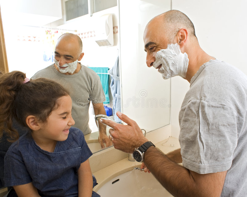 Download Father Shaving And Doughter Watching Stock Photo - Image: 7468508