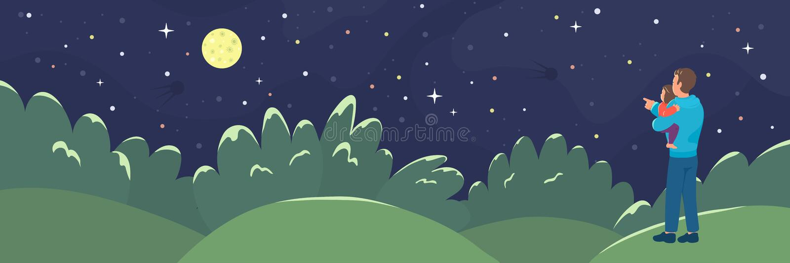 Father showing her daughter a moon. Dad holding baby girl and looking on the night starry sky. Vector illustration vector illustration