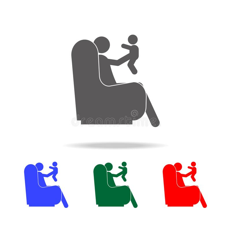 father sitting on the couch holding a baby in his arms icon. Elements of human family life in multi colored icons. Premium quality stock illustration