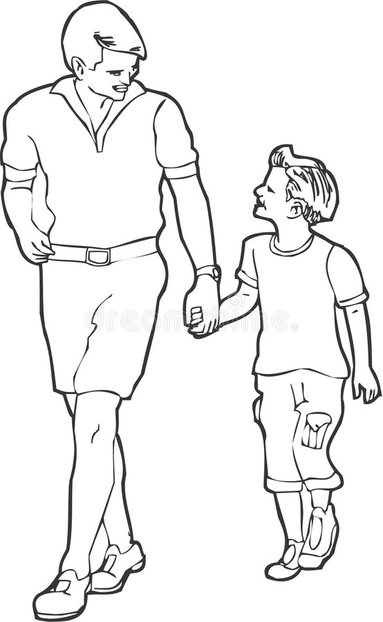 Father and Son stock illustration