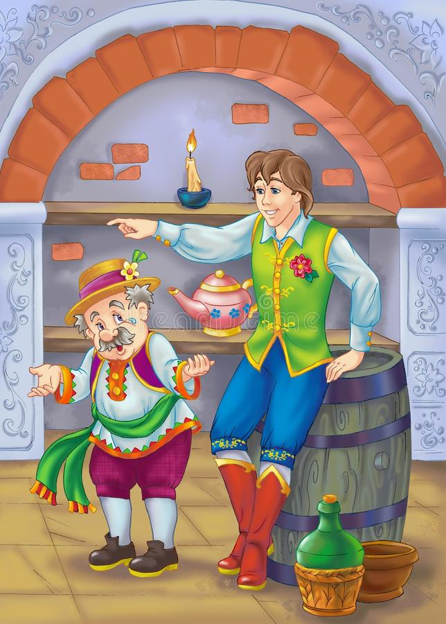 Father and son. Drawing of father and son from fairy tale stock illustration