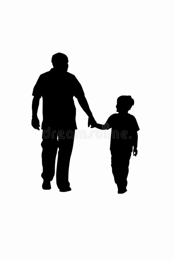 Father and Son. Vector illustration of father and son walking and holding hands
