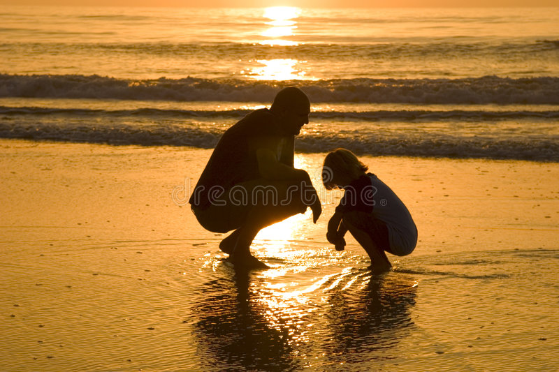 Download Father and son stock image. Image of beach, knelt, ocean - 398987