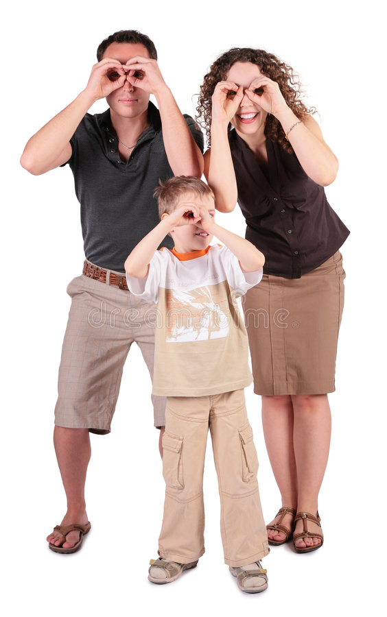 Free Father, Son And Mother Look In Field-glasses From Stock Photos - 5829133
