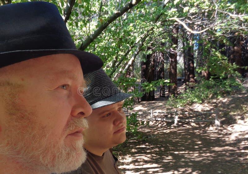 Father Son Arboretum Walk royalty free stock image