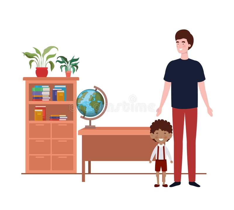 Father with son of back to school stock illustration