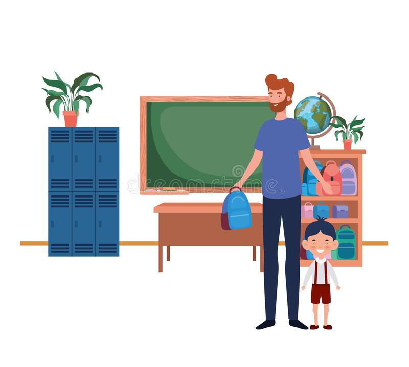 Father with son of back to school royalty free illustration