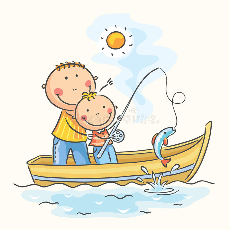 Father and son in the boat. Fishing stock illustration