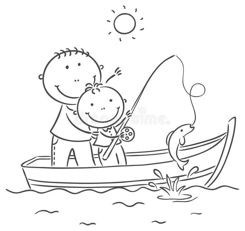 Father And Son In The Boat, Fishing Stock Vector ...
