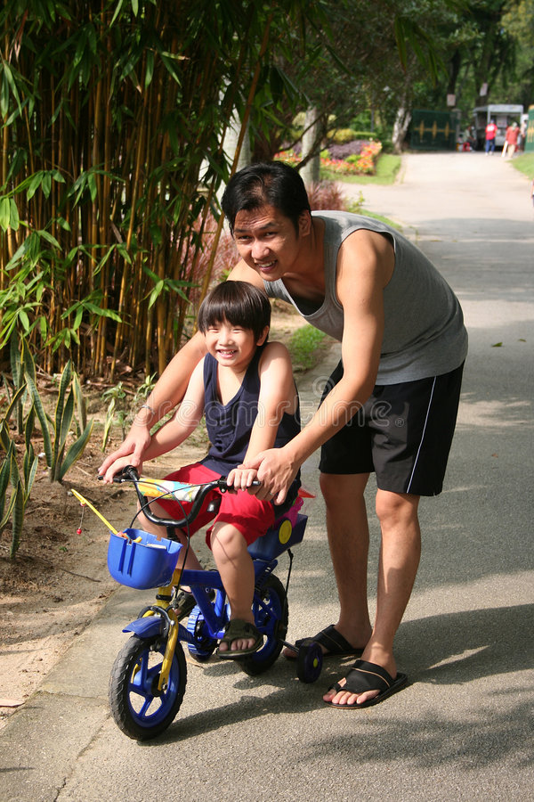 Father & son cycling. Father and son cycling at the park in the evening royalty free stock image