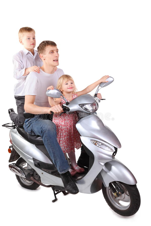 Download Father And Son, Daughter Is Sitting On Motorcycle Stock Image - Image: 15512233