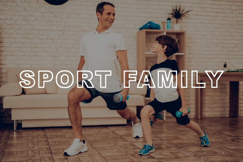Father And Son Are Doing A Gym. Sport Family. Father And Son Are Doing Gym. Sport Family. Healthy Lifestyle. Active Holiday. Exercises Clothes. Getting Better royalty free stock photos