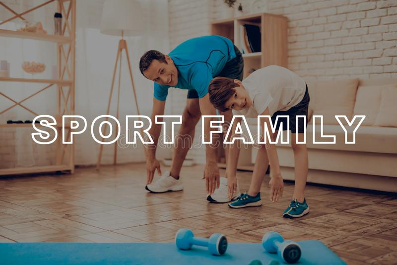 Father And Son Are Doing A Gym. Sport Family. Father And Son Are Doing Gym. Sport Family. Healthy Lifestyle. Active Holiday. Exercises Clothes. Getting Better stock photos