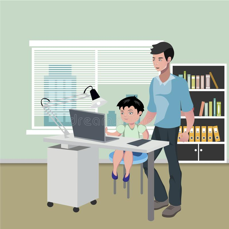 Father with son doing homework on desktop computer royalty free illustration