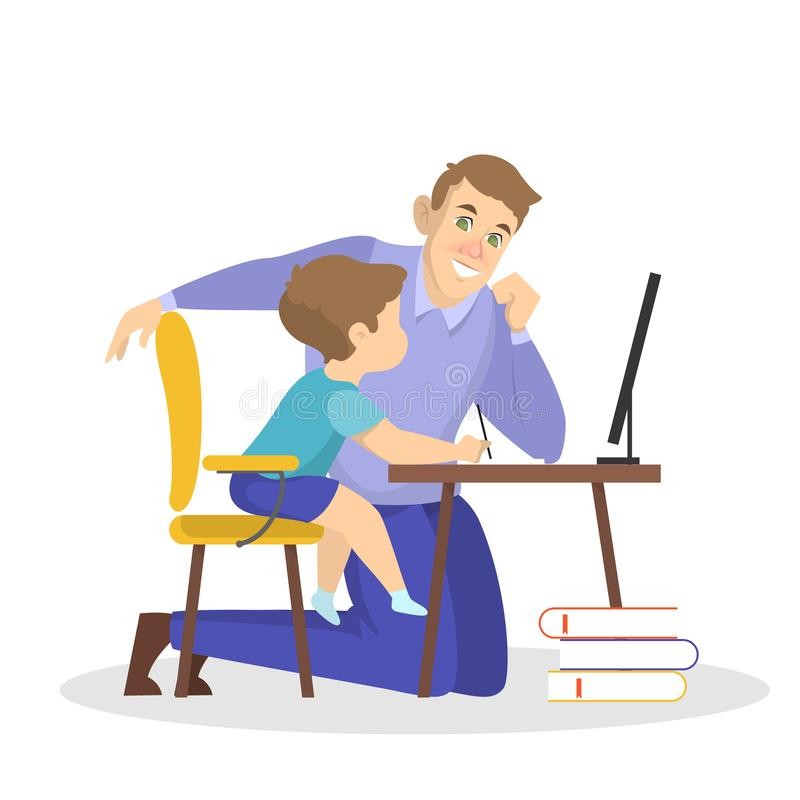 Father and son doing school homework together royalty free illustration