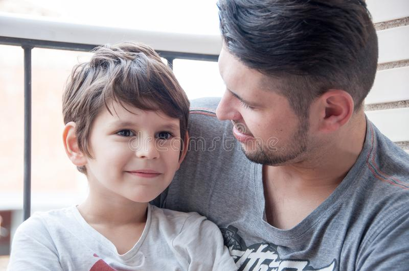 Father and son emotional support and manifestation of love, supp stock photo