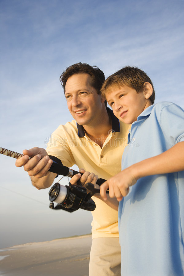 Father and son fishing. stock photography
