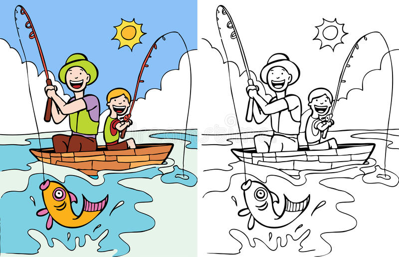 Father and Son Fishing stock vector. Illustration of hook ...