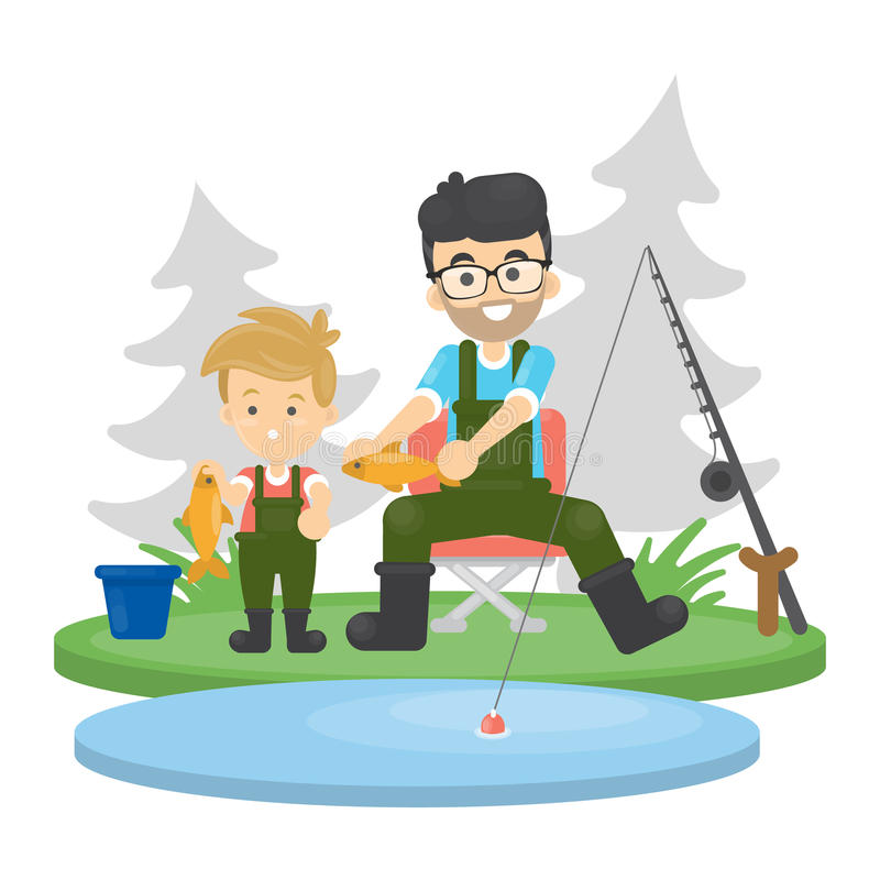 Father and son fishing. vector illustration