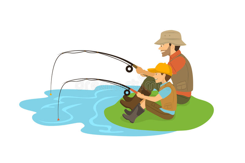 Father and son fishing stock vector. Illustration of ...