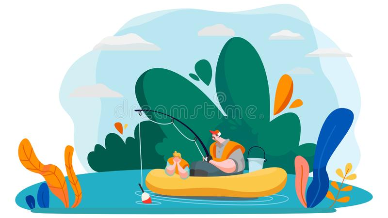 Father and son fishing in lake, vector illustration stock photography