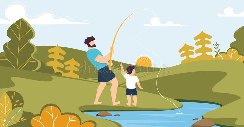 Father and Son Fishing on River in Forest Cartoon royalty free illustration