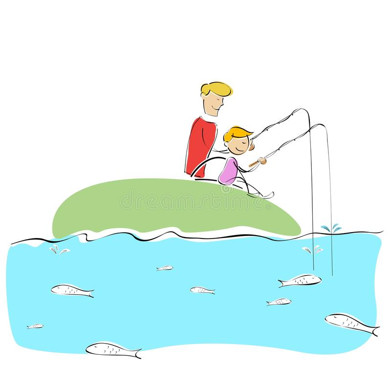 Download Father And Son Fishing Together Stock Illustration - Illustration of adult, outside: 16140752