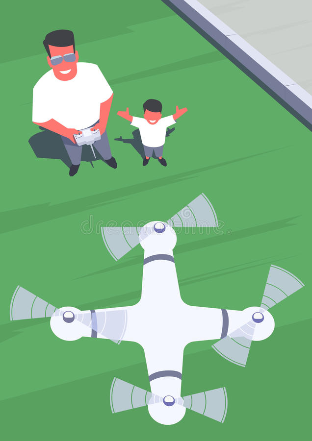 Father and son flying a drone. Father and son standing on the lawn and flying a drone using remote control. Outdoor scene. Retro style illustration vector illustration