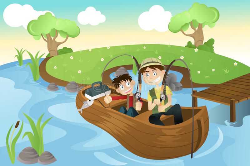 Father and son going fishing royalty free illustration