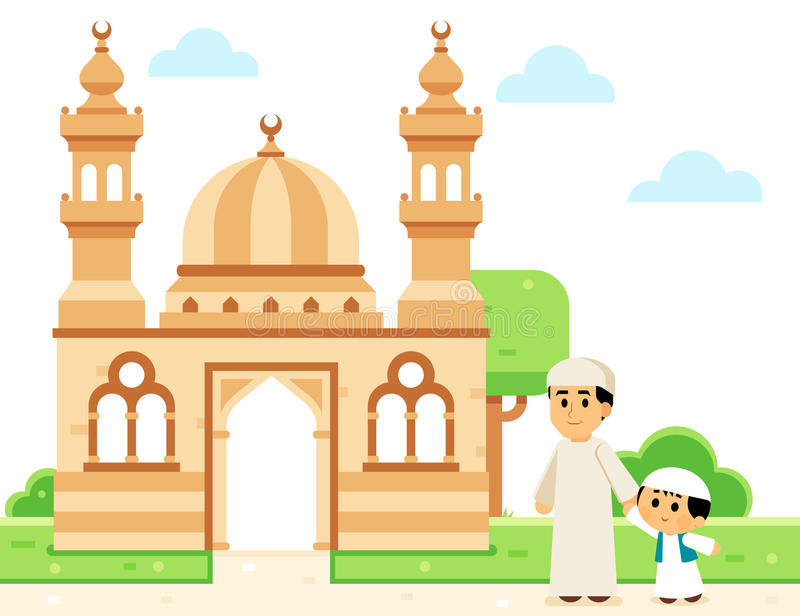 father and son going to the mosque stock vector dad and son clipart father and son clipart free