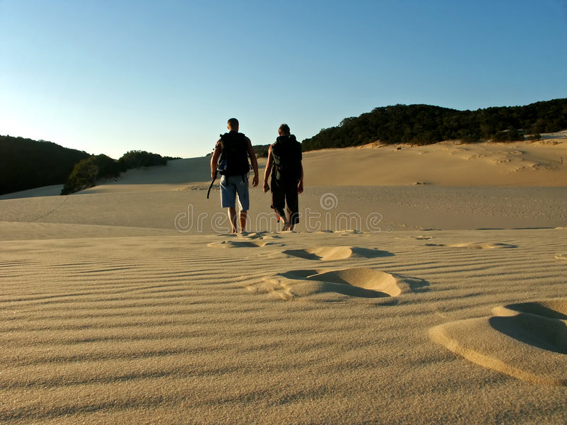 Father and son hiking fraser island stock image