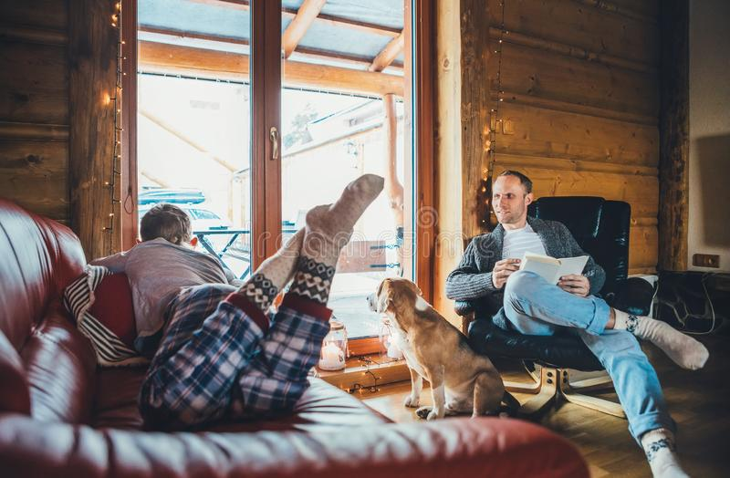 Father, son and his beagle dog spending holiday time in cozy country house. Dad reading a book, boy lying and listening, dog. Father, son and his beagle dog royalty free stock image