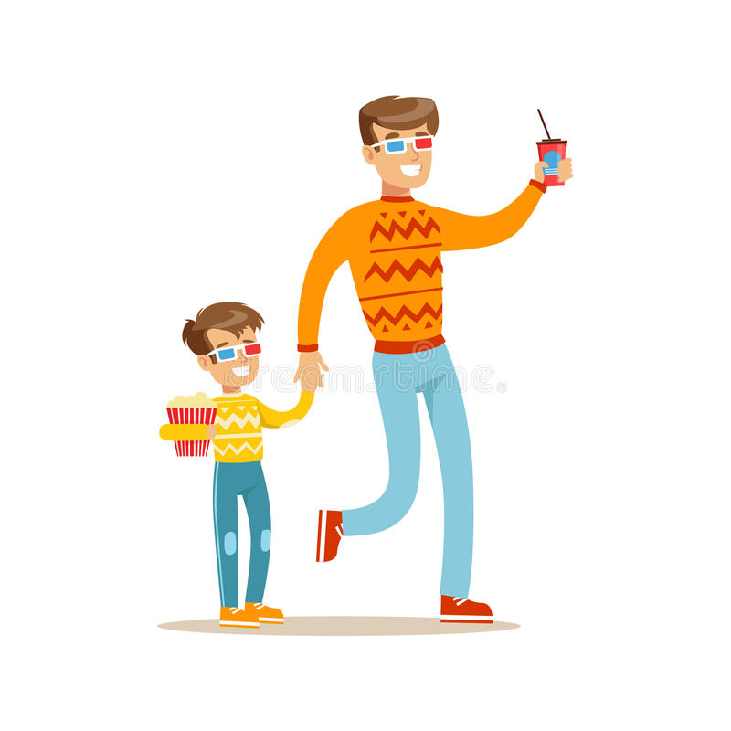 Father And Son Holding Hands Going To Cinema, Part Of Happy People In Movie Theatre Series royalty free illustration