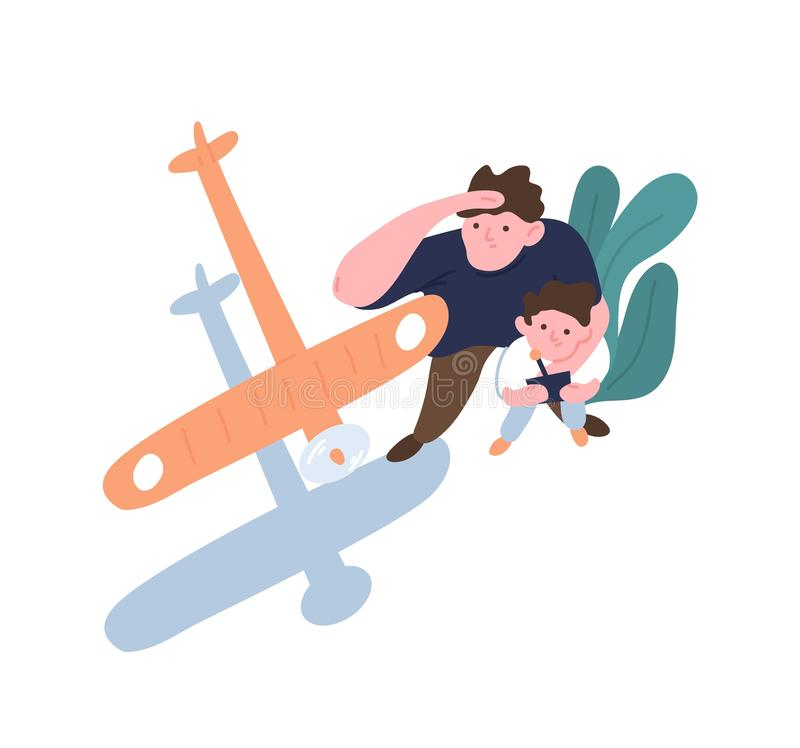 Father and son launch model aircraft. Dad and kid watching flight of toy airplane, aeromodel or glider. Parent and child stock illustration