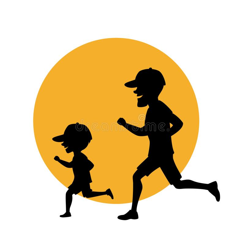 Father and son, man and boy running exercising jogging together silhouette vector illustration royalty free illustration