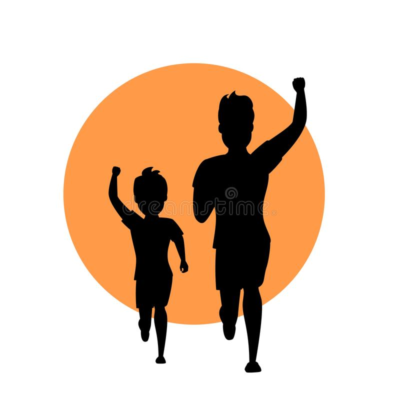 Father and son man and boy running together vector illustration silhouette royalty free illustration