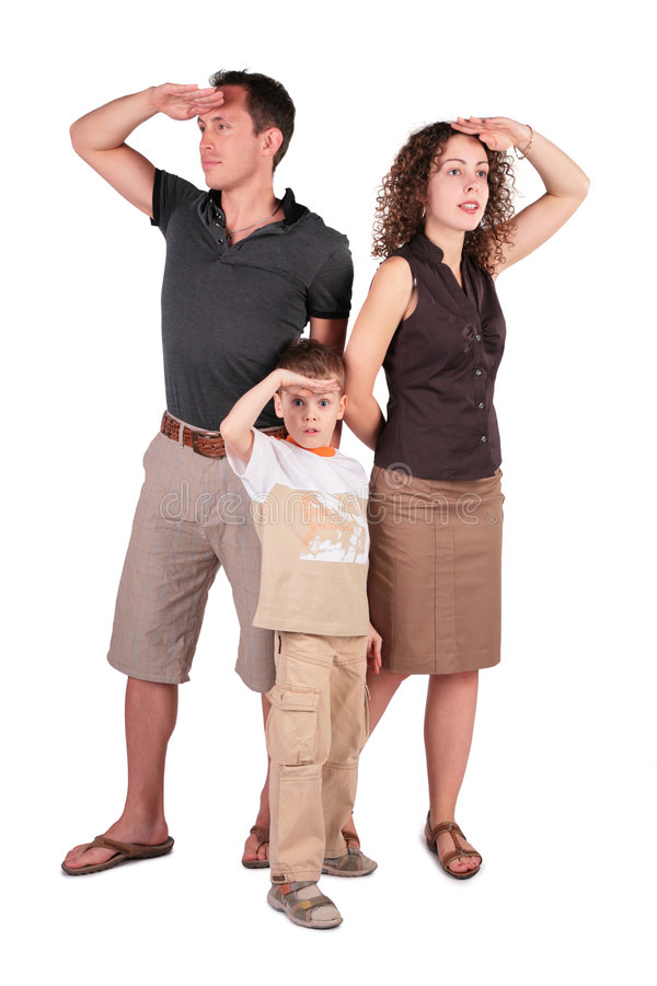 Father,  Son And Mother Look Out For Something Stock Photos