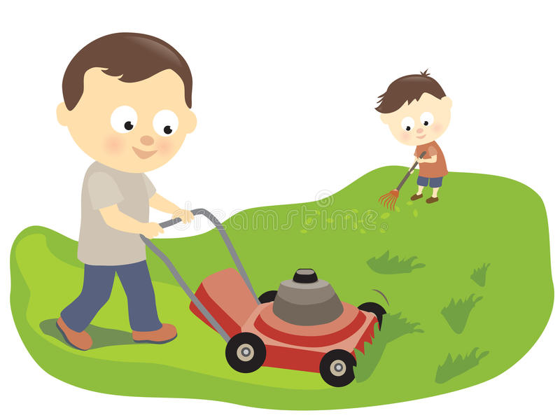 Father and son mowing and raking stock illustration