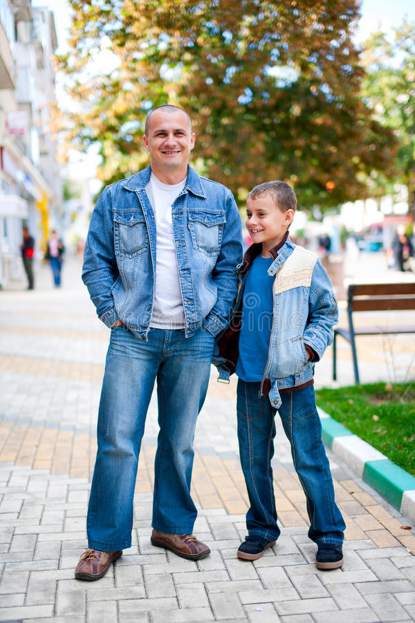 Download Father and son outdoor stock image. Image of jeans, people - 16526589