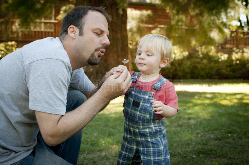 Father And Son At The Park Blowing On Dandelion Stock Image