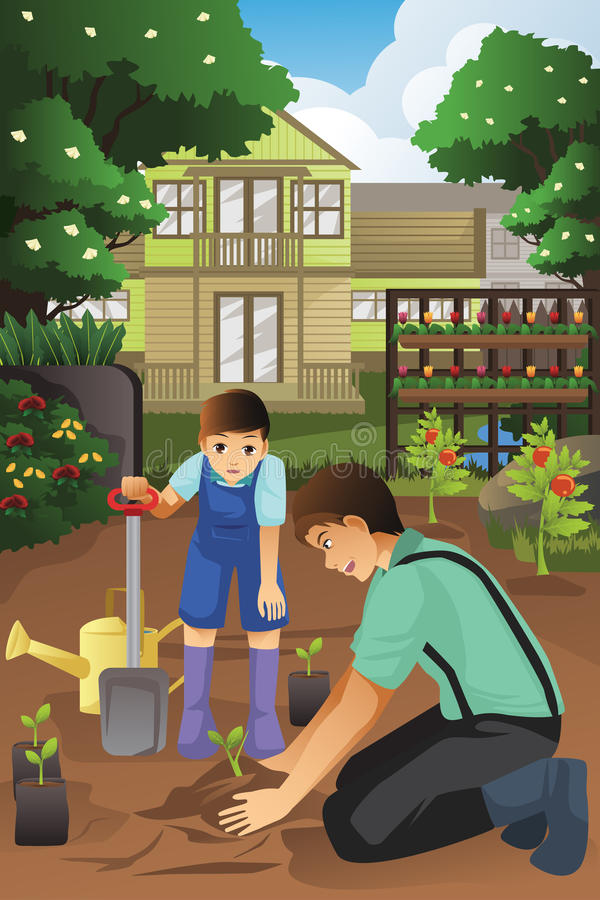 Father and son planting in the garden together royalty free illustration