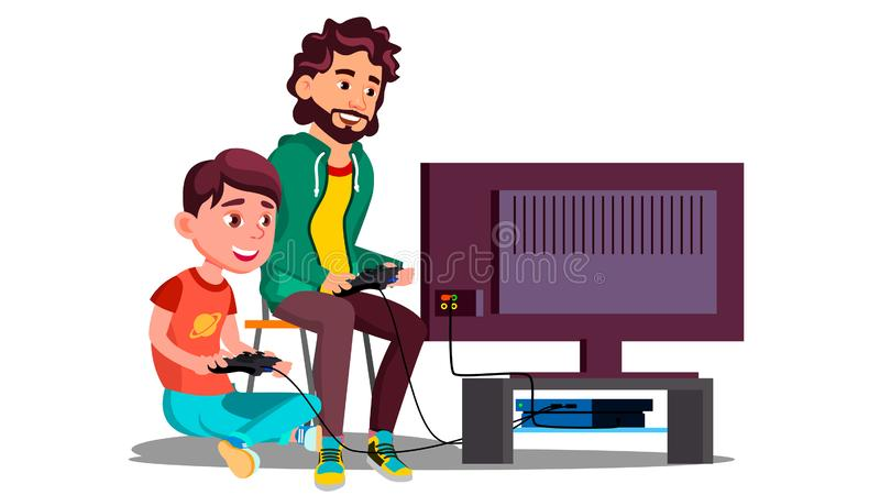 Father And Son Play Video Games Sitting Together Vector. Isolated Illustration. Father And Son Play Video Games Sitting Together Vector. Illustration stock illustration