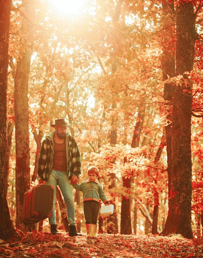 Father and son playing in the autumn forest. Father and son walking together in the park, fall day. Man with beard, dad. With young son in autumn park royalty free stock photography