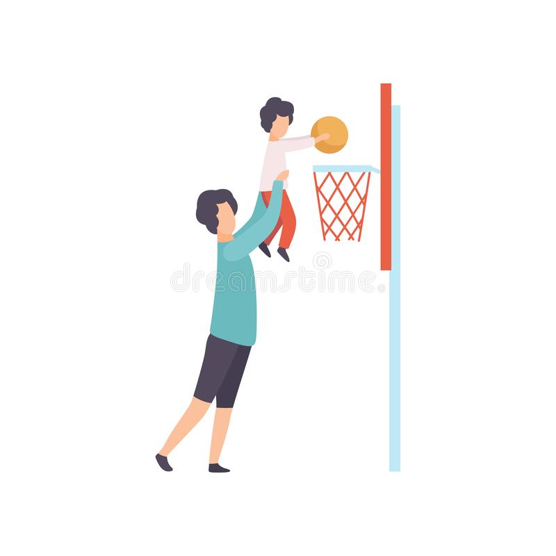 Father and Son Playing Basketball, Dad Holding His Son Helping Him to Score Basket, Happy Family Outdoor Activities. Vector Illustration on White Background royalty free illustration