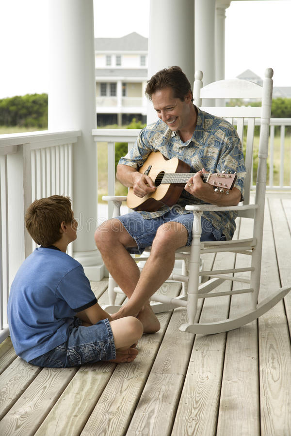 Download Father and Son on Porch stock photo. Image of family - 12718420